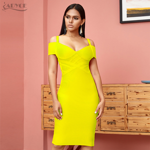 Image 4 - ADYCE 새로운 여름 붕대 드레스 여성 Vestidos 2020 섹시한 오렌지 V 넥 오프 어깨 Bodycon 클럽 드레스 미디 연예인 파티 드레스