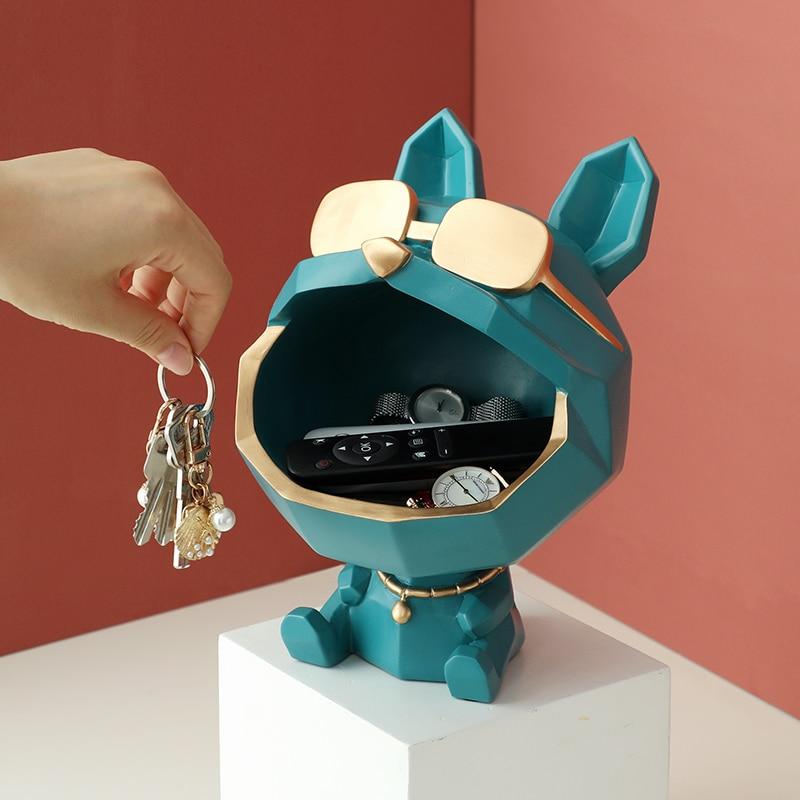Cool Dog Figurine Big Mouth Dog  Storage Box Home Decoration Ornamental Resin Art Sculpture Figurines Home Decor Gift Decorative