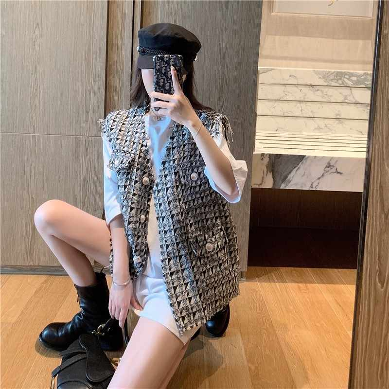 Baru Korea Fashion Argyle Longgar Tanpa Lengan Rompi High Street Single Breasted V-neck Musim Panas Tipis Tweed Pakaian Rompi