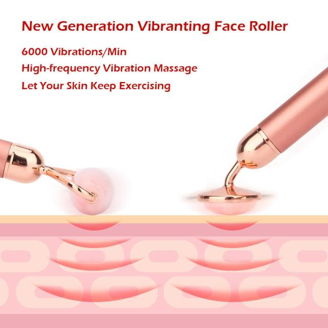 Electric Jade Roller Face Massager Double-heads Massage Derma Roller