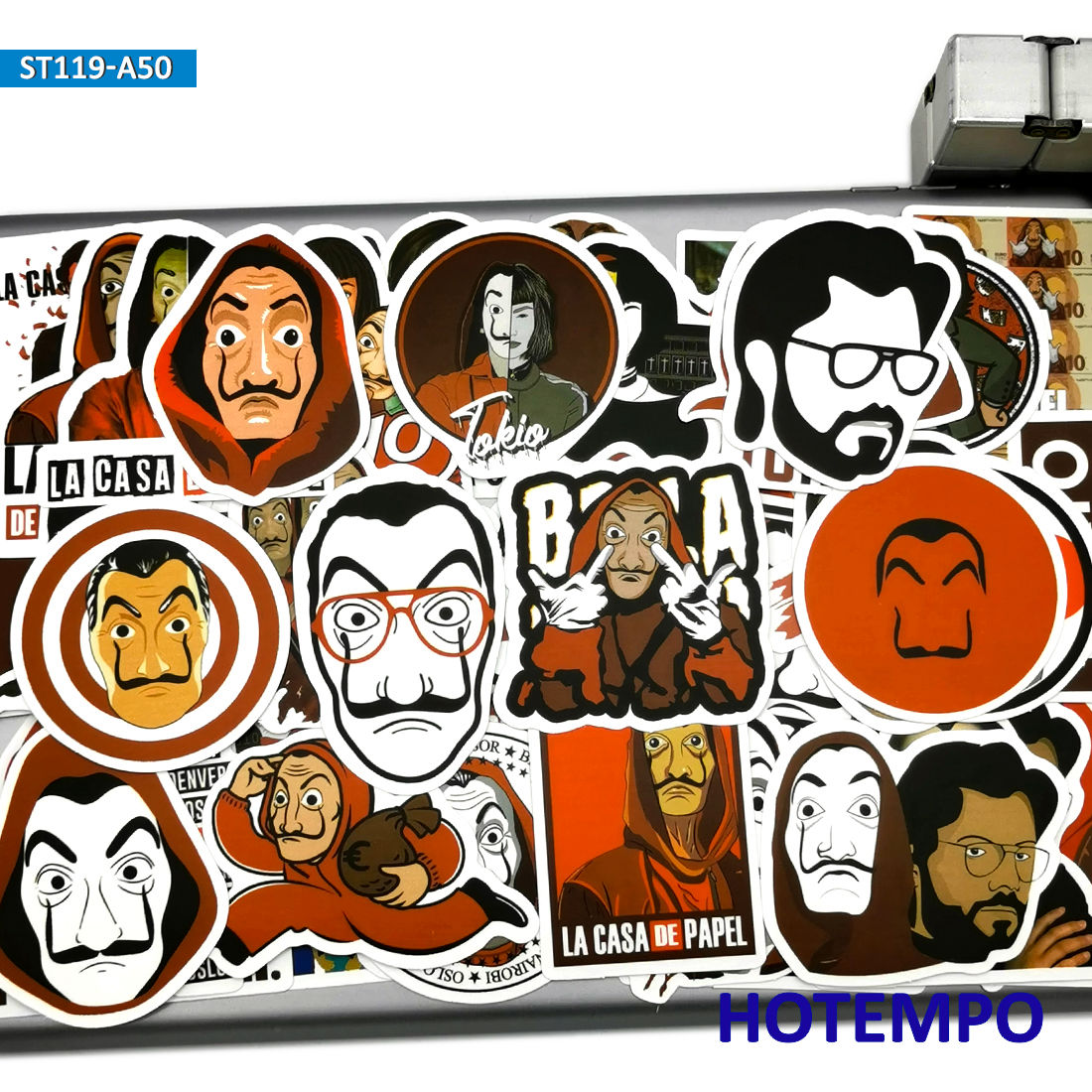 50pcs House Of Paper TV Series Suspense Style Stickers Money Heist On Mobile Phone Laptop Luggage Skateboard Case Decal Stickers