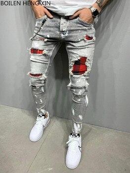 2021 New Men's Slim-Fit Ripped Jeans Men's Painted Jeans Patch Beggar Pants Jumbo Men's Hip Hop Pants Size S-4XL