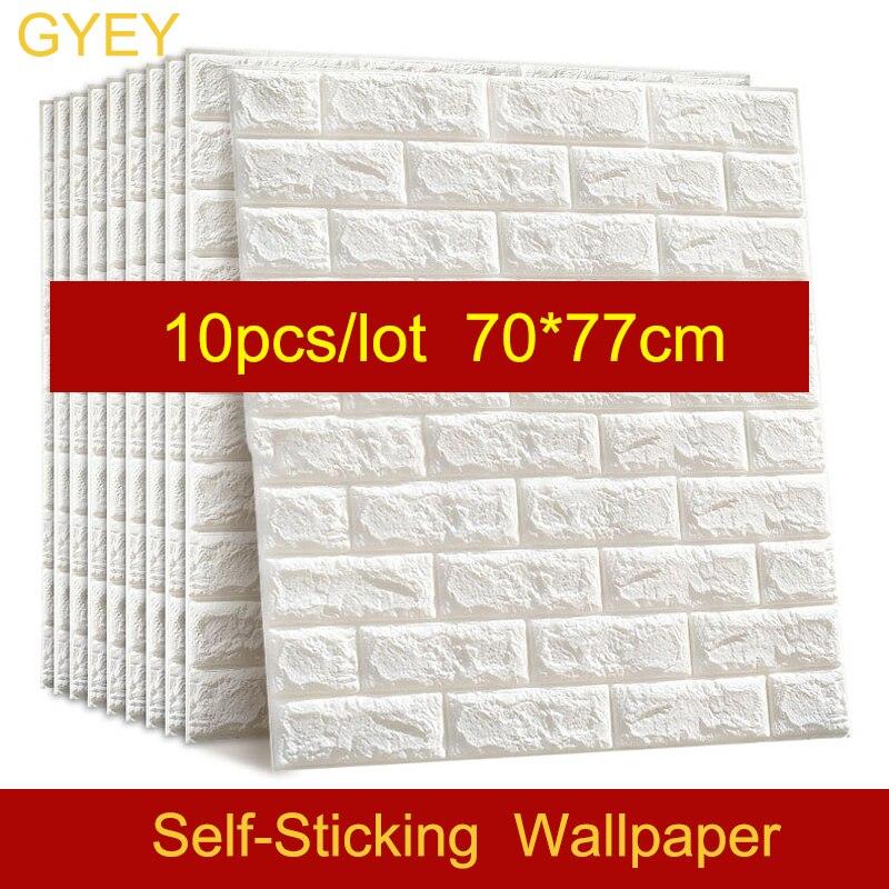 10PCS Self Adhesive Waterproof TV Background Brick Wallpapers 3D Wall Sticker Living Room Wallpaper Mural Bedroom Decorative