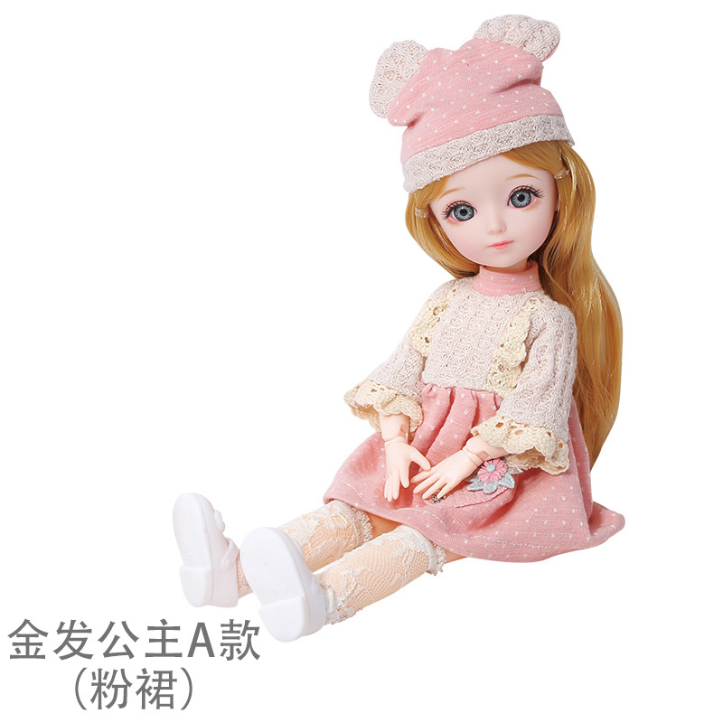 16cm/31cm Bjd Doll 12 Moveable Joints 1/12 Girls Dress 3D Eyes Toy with Clothes Shoes Kids Toys for Girls Children Birthday Gift 12