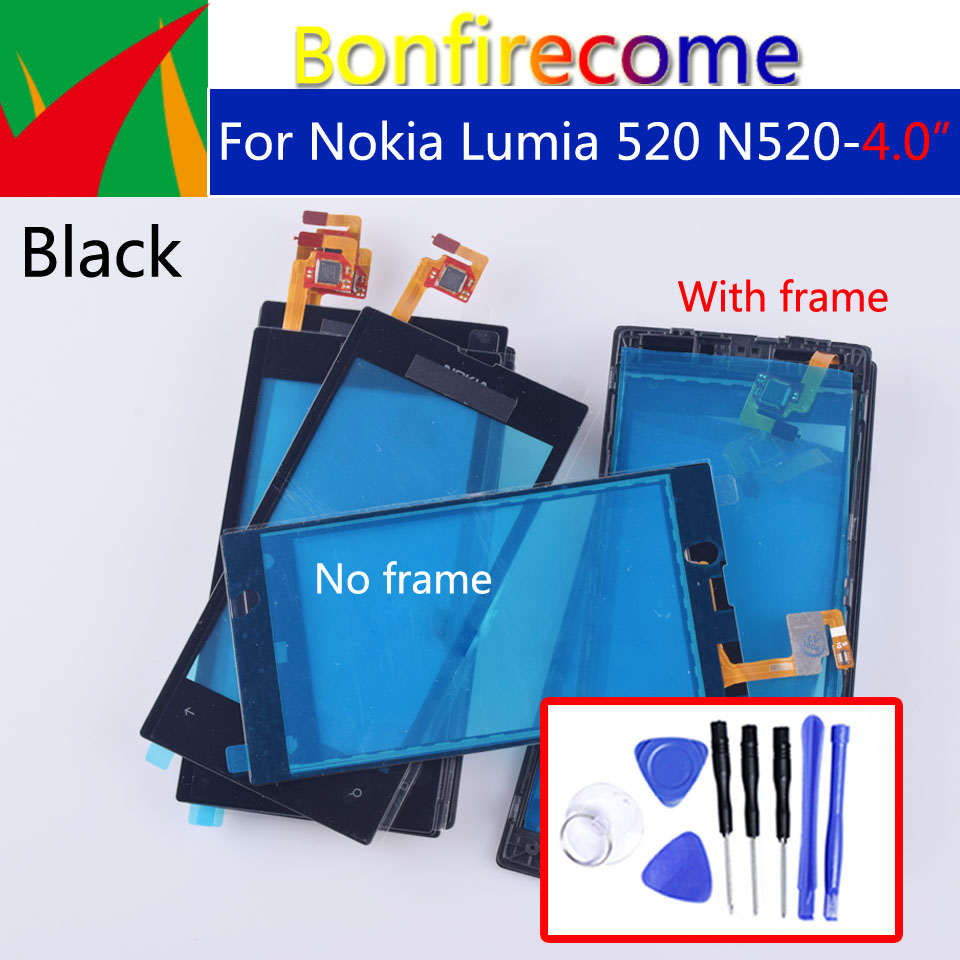 For Nokia Lumia 520 N520 Touch Screen Panel Digitizer Sensor Front Glass Outer Touchscreen Replacement 4.0 Inch