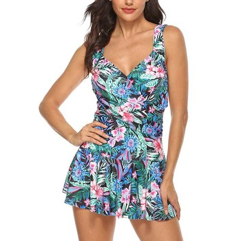 2019 Plus Size swimwear Skirt Print Monokini Swimsuits Women Large Size High Waist bikini One Piece Swimsuit Shorts FemaleXXXXXL