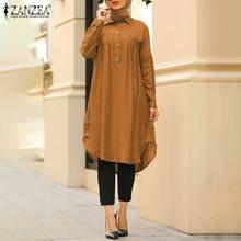 ZANZEA-Blusa larga Retro musulmana para otoño, Camisa larga Vintage de estilo árabe con partes de arriba sueltas de manga larga, 5XL