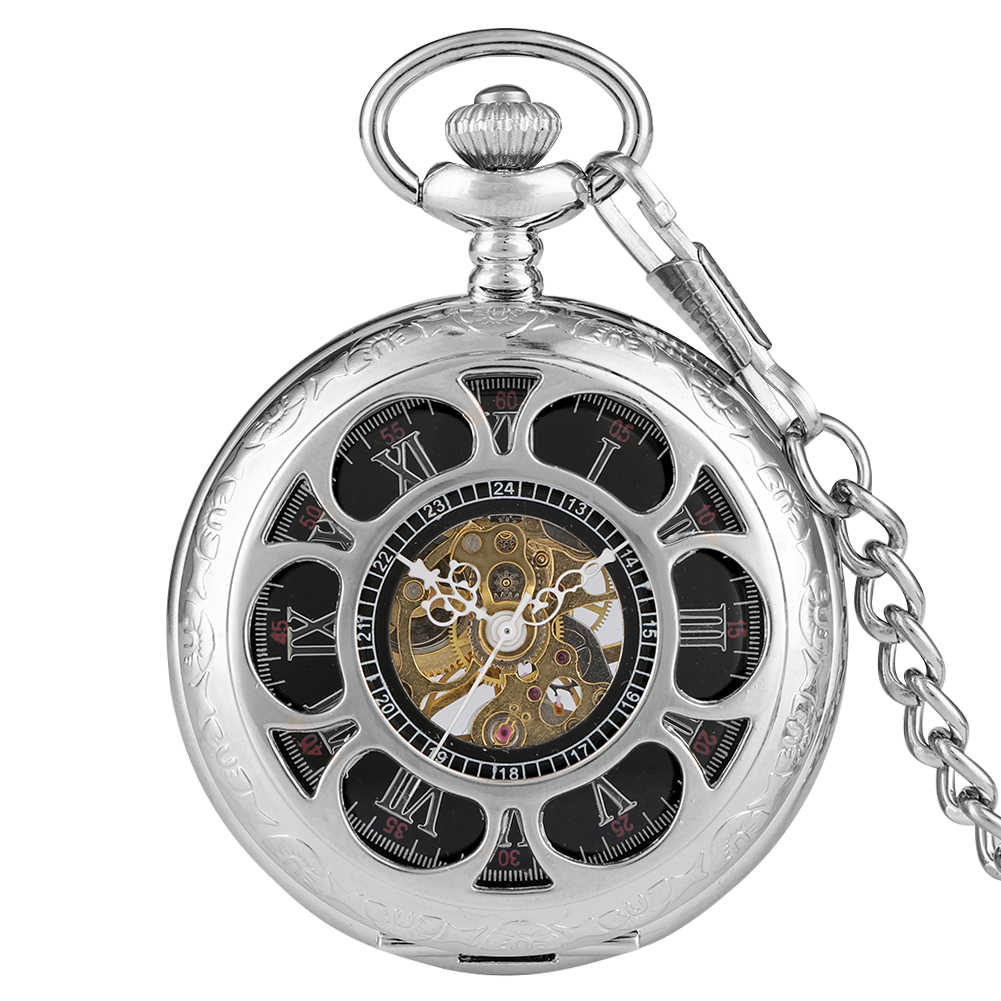 Flores mão mecânica vento bolso relógio escultura esqueleto cooper fob relógio steampunk colar presentes reloj de bolsillo