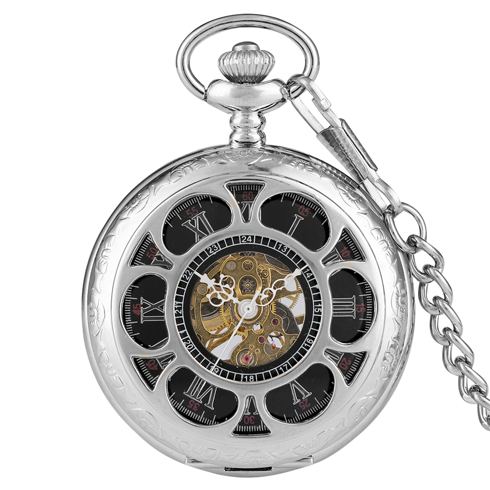 Flowers Mechanical Hand Wind Pocket Watch Carving Skeleton Cooper Fob Clock Steampunk Necklace Gifts Reloj De Bolsillo