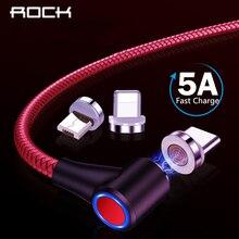 ROCK 5A Магнитный кабель Micro usb type C адаптер Шнур 90 градусов локоть быстрое зарядное устройство светильник ing светодиодный светильник для передачи данных для iPhone samsung