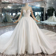 HTL441 Perspective Crystal Decorated Top Buckle Back Wedding Dresses 2020 Long Sleeves Ball Gowns vesridos de novia