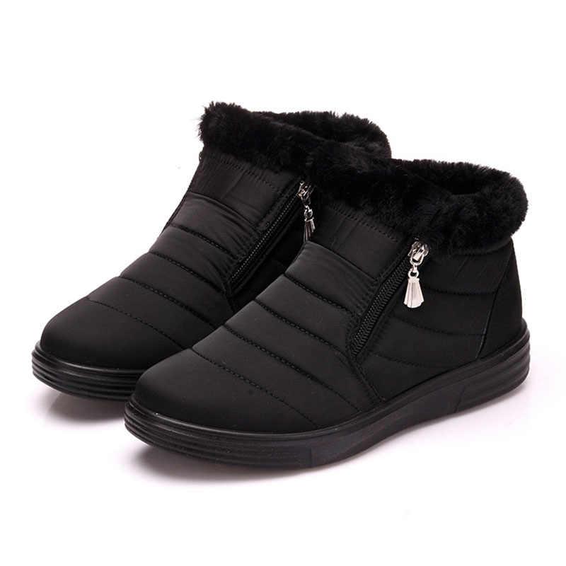 Inverno Stivali Da Neve Delle Donne Della Chiusura Lampo Della Caviglia Peluche Stivali Per Le Donne Piatto Tenere In Caldo Casual Scarpe
