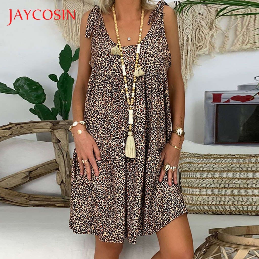 JAYCOSIN Vintage 5XL mujeres vestido de verano señoras suelta estampado vestidos de manga de tres cuartos volantes Mini Vestido de playa vestido de verano 723 Vestidos    - AliExpress