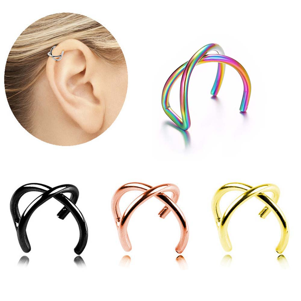 5Pcs/Set Punk Gold Leaf Ear Cuffs Clip Earrings Women No Piercing Clip On Cartilage Wrap Earring