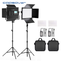 capsaver L4500K 2 Sets Photographic Lighting LED Video Light Bi color Dimmable Studio Lamp with Tripod Stand for Youtube Shoot