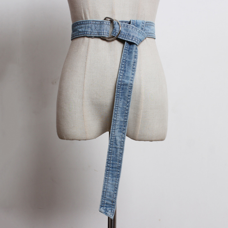 2020 New Fashion Corset Belts For Women Solid Blue Fashion Trendy Hot Sale Long Knot Stylish Casual Denim Waistband Female ZK235