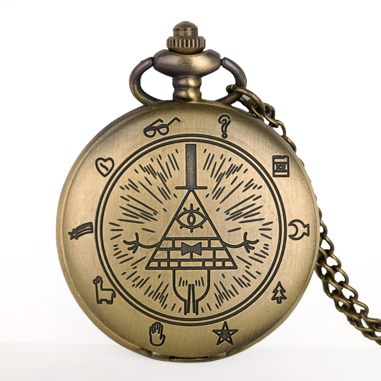 Hot Sales Bronze Bill Cipher Gravity Falls Quartz Pocket Watch Pendant Necklace Men Women Watches With FOB Chain Drop Shipping