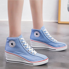 AGUTZM Women Causal Shoes Breathable High heels canvas Hidden Wedge white Sneakers vulcanize shoes Zapatillas Mujer z228