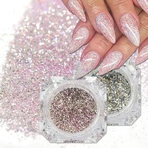 Image 1 - 1 boîte holographique platine Nail Art paillettes mélange flocons paillettes scintillantes manucure poussière Laser argent or poudre Gel décoration TRBG