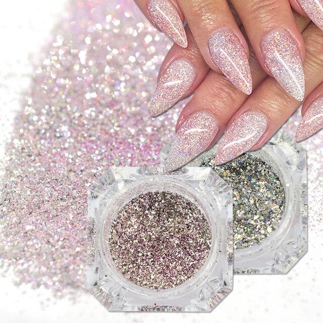 1 boîte holographique platine Nail Art paillettes mélange flocons paillettes scintillantes manucure poussière Laser argent or poudre Gel décoration TRBG