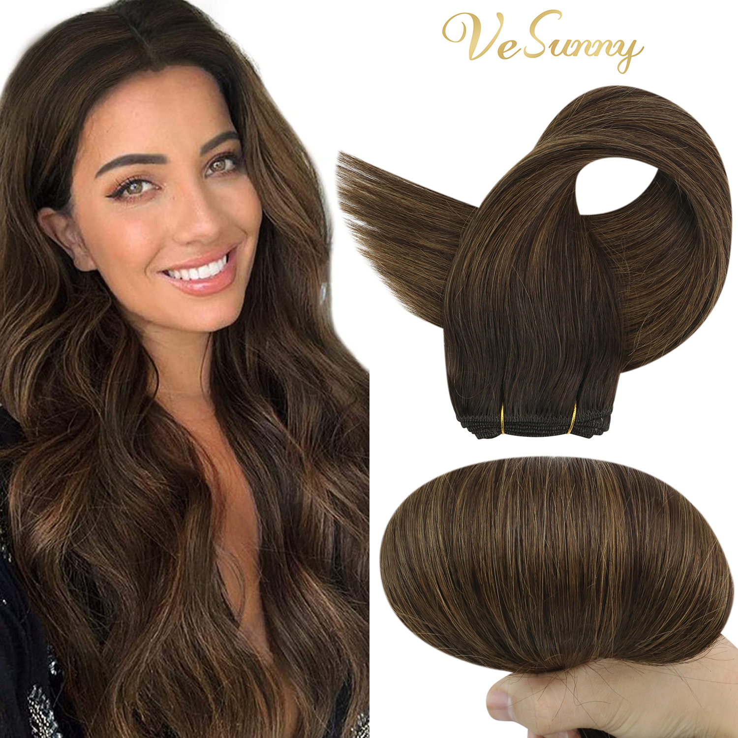 VeSunny Sew In Double Weft Hair Bundles Balayage Human Hair Color Brown Straight Hair Extensions Real Brazilian Hair Bundles