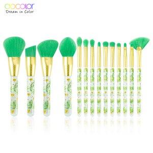 Image 1 - Docolor 14 pçs pincéis de maquiagem conjunto beleza fundação pó sombra compõem escova cabelo sintético cosméticos compõem escova ferramenta