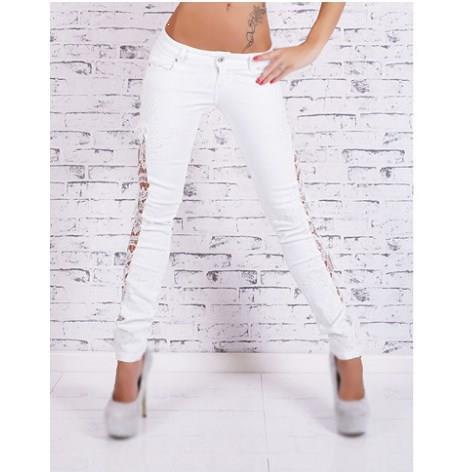 Casual Women Flower Lace Jeans Low Waist Hollow Out Long Pants Pencil Pants Fashion Skinny Ankle-Length Jeans Pants