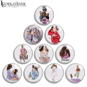 12mm 14mm 16mm 20mm 25mm 30mm 605 Mom Love Mix Round Glass Cabochon Jewelry Finding 18mm Snap Button Charm Bracelet