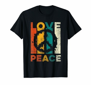 Love Peace Freedom T-Shirt 60s 70s Tie Dye Hippie Shirt Tee Slim Fit Plus Size TEE Shirt