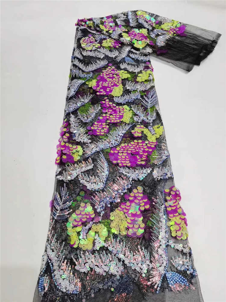 Classic Embroidery Sequins Latest African Tulle Fabric Heavier Bead Tube Sequin Lace For Wedding Party Dress NN543-k