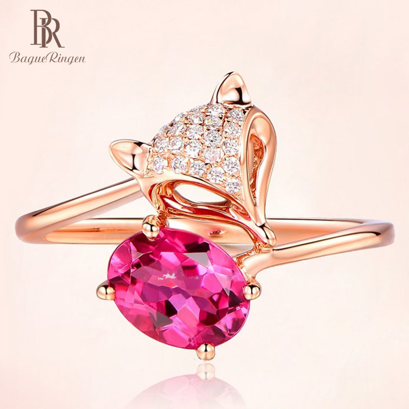 Bague Ringen New Design Silver 925 Open Ring  Woman Fox Animal Ring With Oval Ruby Gemstone Wholesale Party Wedding Jewely