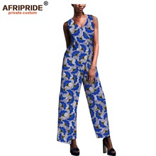2019 african fashion spring&autumn jumpsuit for women AFRIPRIDE sleeveless v-neck ankle length cotton A1829010