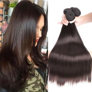 BEAUDIVA Hair Brazilian Straight Human Hair Bundles Dark Brown 2# Brazilian Straight Hair Weave 3/4 Bundles 8-24inch Fast Ship