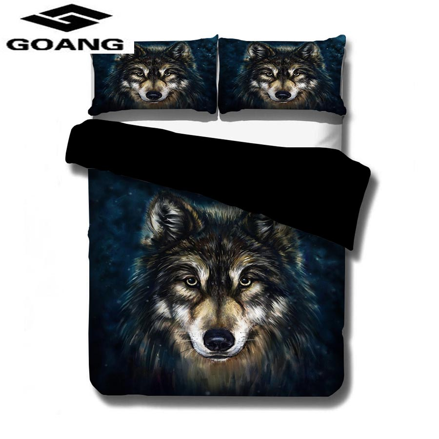 GOANG Home Textiles Luxury Bedding Sets 3d Bed Sheet Duvet Cover And Pillowcase Animals Bedding Home Decoration Wolf