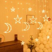 Guirnalda de guirnaldas de luces LED de Luna y estrellas para decoración del hogar, lámpara de cortina de Año Nuevo para Navidad, Eid Mubarak, fiesta, dormitorio, Ramadán y Kareem