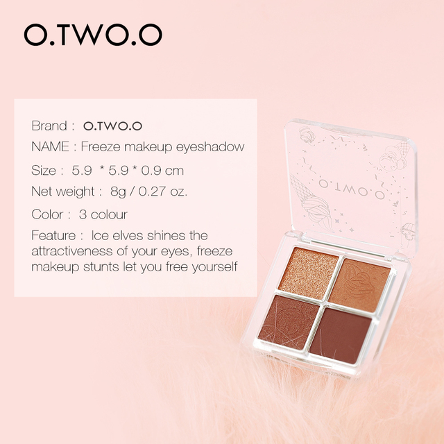 O.TWO.O 4 Color Eyeshadow Palette Peach Waterproof Long Lasting Shimmer  Matte Eye shadow Soft Smooth Shadow Primer Makeup 3