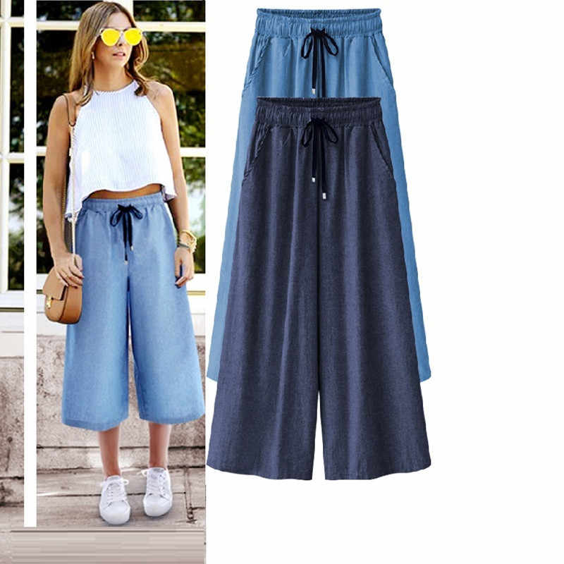 Nuevos Pantalones Clasicos Negros De Talla Grande Para Mujer Pantalones Largos Sueltos De Cintura Alta Elasticos Informales A La Moda Para Mujer Pantalones Y Pantalones Capri Aliexpress