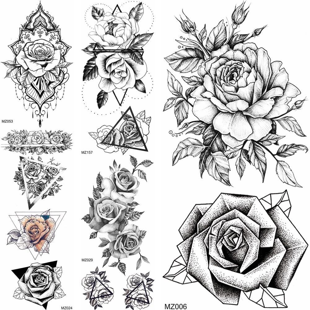 Dot Pattern Flower Temporary Tatoo Sticker For Women Body Art Painting Arm Chest Tatoo Fashion Fake Jewelry Geometric Rose Tatoo