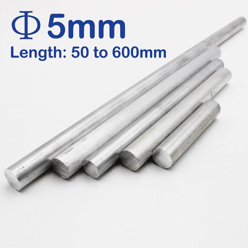 5mm Diameter Aluminum Round Bar/Rod Length 100mm To 600mm