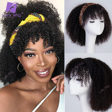 Scarf Wigs Bangs Human-Hair Afro Kinky Curly Luffywig Brazilian Glueless Black Women