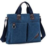 Ougger Medium Shoulder Bags for Men Handbags Blue Canvas Casual Postman Package for Business trip