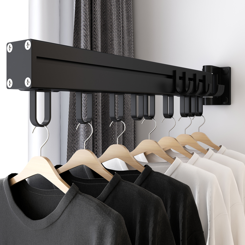Balcony clothes rack push-pull folding rotating black space aluminum clothes clothes rack indoor and outdoor clothes rail