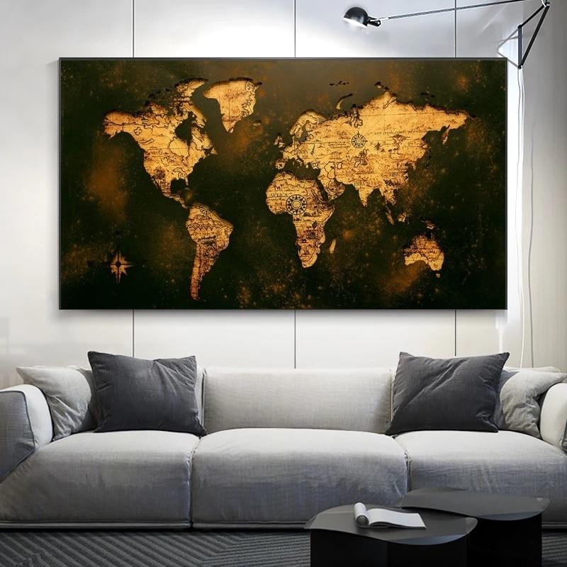 Toile de carte du monde doré abstrait, affiche et imprimés, Style rétro, images pour décoration de maison, salon