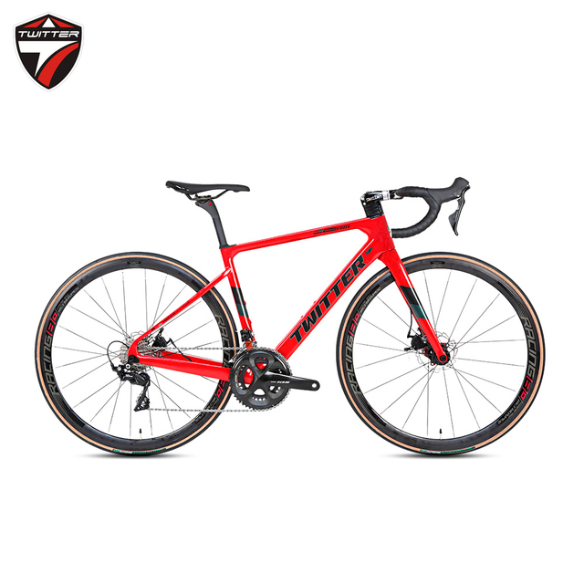 TWITTER 2020 new arrival 700c Full Carbon Road Bike complete Disc Brake hidden cables 105 groupset 22 Speed Gravel Road Bicycle