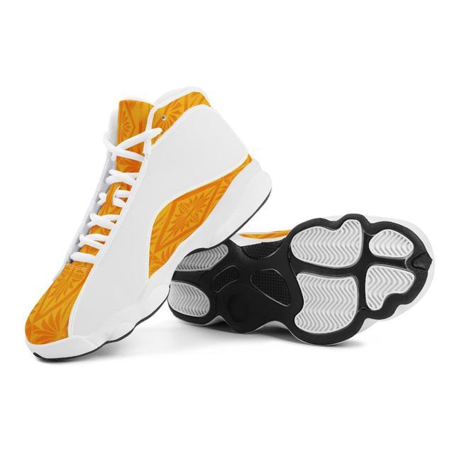 Buena calidad de la Polinesia Samoa Tribal naranja Tonga estilo zapatos de bola Logo de equipo deportivo de Baloncesto de los hombres zapatos deportivos 2