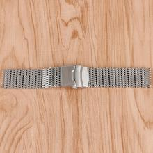 18mm 20mm 22mm Watchband Silver Mesh Web Stainless Steel Fold Over Clasp with Safety Solid Link Push Button Wristwatch Strap 18mm stainless steel wrist watch band with fold over clasp with push bottom