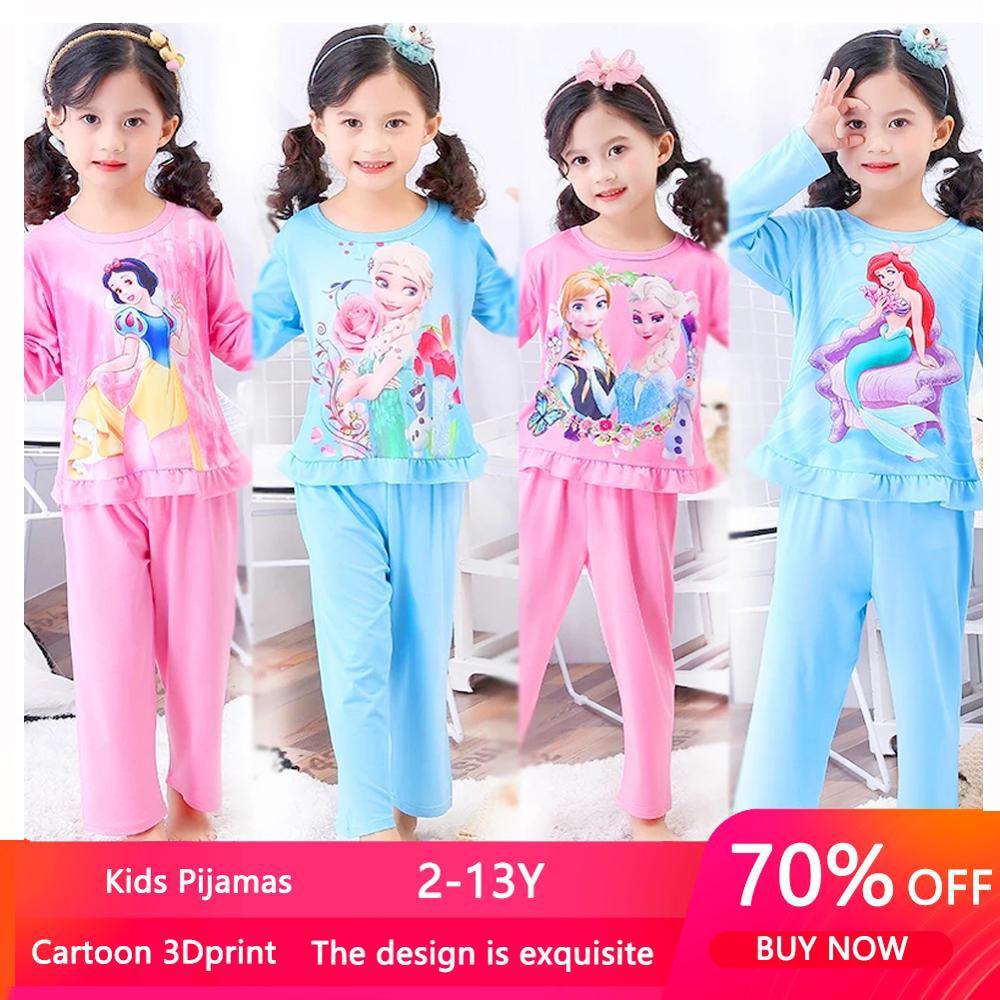 Autumn Princess Anna Elsa Snow White Children Girls Pajamas Sleepwear Loungewear Kids Pijamas Mermaid Pyjama Set Homewear 3-14y