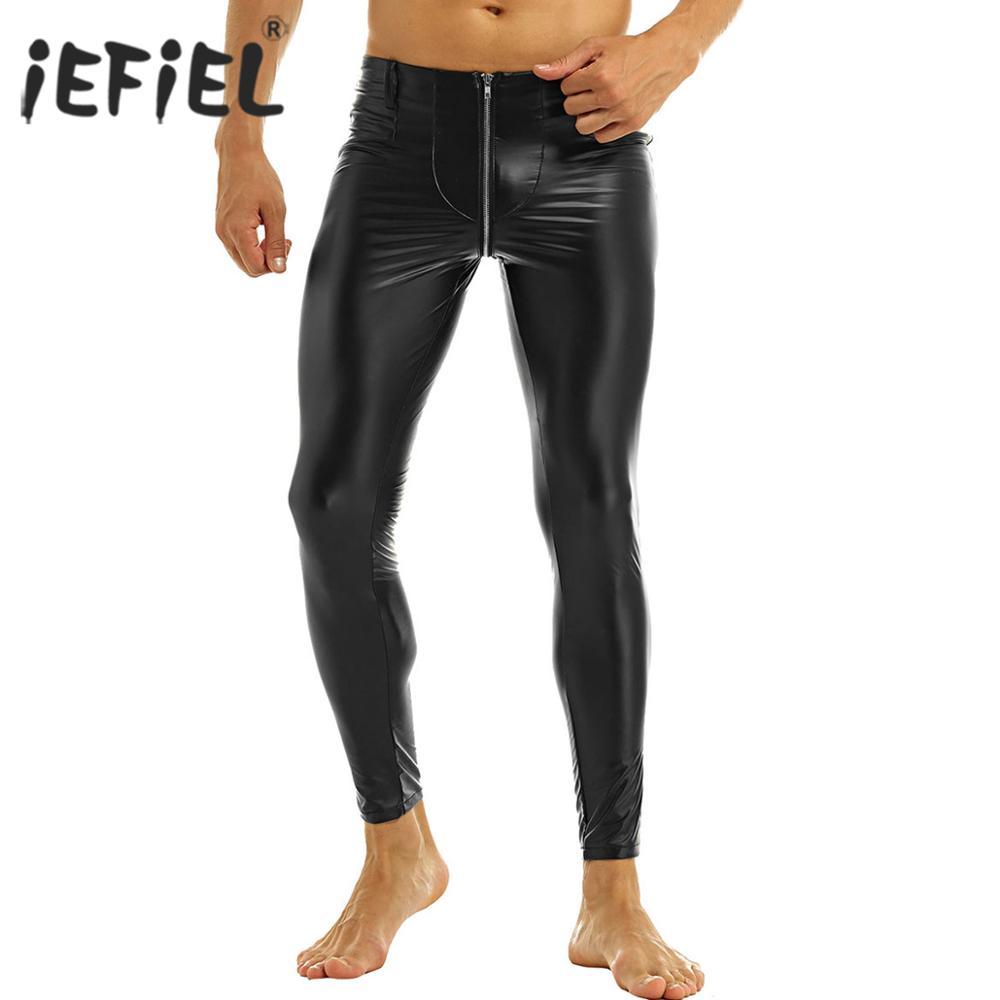 Verwonderend IEFiEL Zwarte Mens Faux Leer Rits Kruis Strakke Broek Legging HD-11