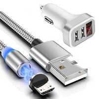 Adaptador de cargador USB para coche, Cable Micro USB magnético para Samsung Note 6/5/4/3 J3 J5 J7 A3 A5 A7 Xiaomi 1/2/3/4 Redmi 4x cordón Android