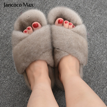 Slippers Fur Slides Indoor-Shoes Fluffy Winter Fashion Women's Real S6084 Mink-Fur Natural